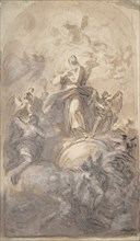 The Virgin Immaculate in Glory (recto); Sketch of a Part of a Leg and a Hand (verso), 1723-1806. Creator: Domenico Mondo.