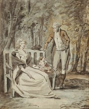 Study for a Portrait: A Lady and a Gentleman in a Park, ca. 1780. Creator: Unknown.