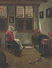 A Woman Reading, after Pieter Janssens Elinga, 1846-47. Creator: Francois Bonvin.