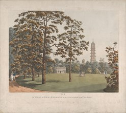 A View in Kew Gardens of the Alhambra and the Pagoda, 1813. Creator: Heinrich Schutz.