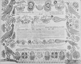 Birth and Baptismal Certificate, 1784. Creator: Attributed to Henrich Dulhauer.