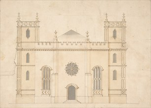 Facade of a Gothic Revival Church, 1745-76. Creator: Attributed to Henry Keene.