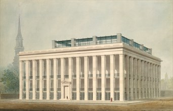 Proposal for Astor House (Park Hotel), New York (perspective), ca. 1830-34. Creator: Alexander Jackson Davis.