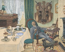 A Bachelor in His Study (The Sportsman's Breakfast), late 19th century. Creator: J Buttfield.