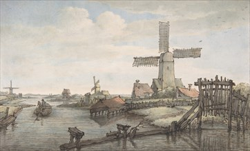 View of a Canal with Three Windmills, late 18th-early 19th century. Creator: Jan Hulswit.