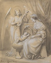 Virgin and Child Adored by a Lute-Playing Angel, 1820-52. Creator: Jean-Jacques Feuchere.