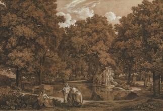 Arcadian Landscape with Three Figures at a Lake, 1792. Creator: Johann Christian Reinhart.