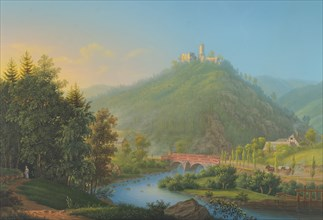 View of Kynsburg over the Weistritz River Valley in Silesia, late 18th-19th century. Creator: Johann Heinrich Bleuler.