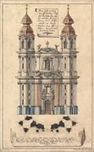 Baroque Church Façade with Obliquely Placed Towers., ca. 1760-70. Creator: Joseph Kirnberger.