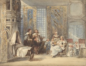 Scene with Family and Guest in Seventeenth-century Interior, 1825-78. Creator: Attributed to Joseph Nash.
