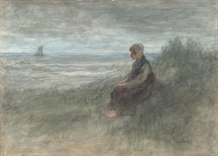 Girl in the Dunes, mid-19th-early 20th century. Creator: Jozef Israels.