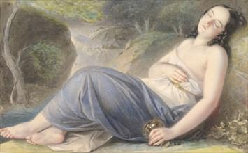 Psyche Asleep in a Landscape, 1837. Creator: Karl Joseph Aloys Agricola.