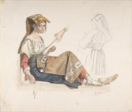 Neapolitan Woman (recto); Study for an Interior (verso), late 18th-19th century. Creator: Karl Wilhelm Freiherr von Heideck.
