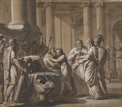Scene from Roman History, depicting a Youth receiving Armor from a Dying..., late 18th-mid 19th cent Creator: Mathieu Van Brée.