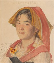 "Head of an Girl from Civita d'Antino in Regional Dress (""Catarinella""), 1890. Creator: Peder Severin Krøyer."