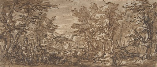 Forest Scene, a Halt at the Left, a Hunt at the Center, 1612-66. Creator: Attributed to Pier Francesco Mola (.