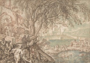 Huntsmen and Company Observing Dogs Retrieving Ducks in a Pond (The Month of April), c1610-20. Creator: Pieter Stevens.