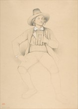 A Man in Tyrolean Costume, Seated, Smoking a Pipe, 1842. Creator: Théodore Valerio.