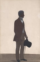 A young man, standing; full length silhouette, profile to right, 1850. Creator: WH Beaumont.