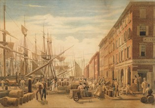 View of South Street, from Maiden Lane, New York City, ca. 1827. Creator: William James Bennett.