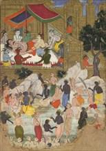 The Awakening of Kumbhakarna in the Golden City of Lanka, Folio from a Ramayana, ca. 1605. Creator: Unknown.