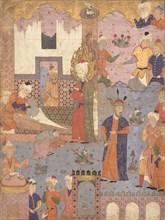 Muhammad Revives the Sick Boy, Folio from a Falnama (Book of Omens) of Ja'far al-Sadiq, 1550s. Creator: Unknown.