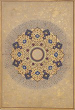 Rosette Bearing the Names and Titles of Shah Jahan, Folio from the Shah Jahan Album, ca. 1645. Creator: Unknown.