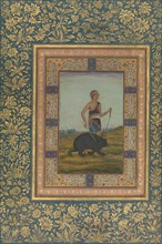 Dervish Leading a Bear, Folio from the Shah Jahan Album, recto: early 19th century. Creator: Unknown.