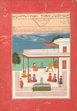 A Raja and a Guest Seated on a Terrace Listening to Musicians Perform..., AH 1214/1799-1800 AD. Creator: Unknown.