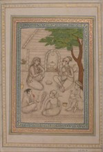 Hindus Conversing before a Shrine, 17th century. Creator: Unknown.