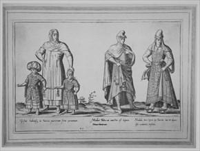 Gestus habitusq. in Turcia puerorum foras exeuntium; Mulier Turca cui amictui est tegmen M..., 1580. Creator: Abraham de Bruyn.