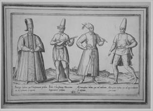 Paedagogi habitus, qui Christianam prolem in disceplinam acceperit; Proles Christiana Turc..., 1580. Creator: Abraham de Bruyn.