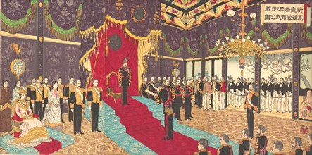 View of the Issuance of the State Constitution in the State Chamber of..., March 2, 1889 (Meiji 22). Creator: Adachi Ginko.