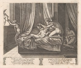 Plate 13: Psyche looking at Cupid, from the Story of Cupid and Psyche as told by Apulei..., 1530-60. Creator: Agostino Veneziano.