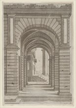 Speculum Romanae Magnificentiae: Front of a Building seen sideways through an arca..., 16th century. Creator: Anon.