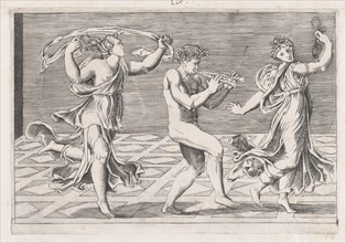Speculum Romanae Magnificentiae: Dance of Fauns and Bacchants, early 16th ce..., early 16th century. Creators: Anon, Agostino Veneziano.