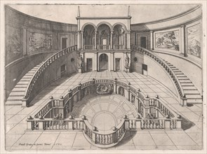 Speculum Romanae Magnificentiae: The Great Hall within the Farnese Palace, la..., late 16th century. Creator: Anon.