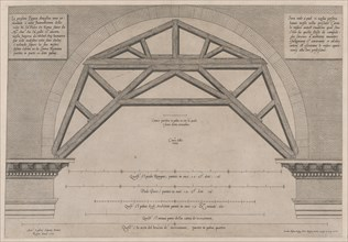 Speculum Romanae Magnificentiae: Wooden Framework to Support Arches in a Building,..., 16th century. Creator: Jacob Bos.