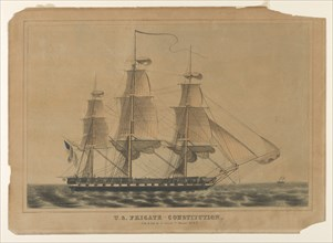 U.S. Frigate Constitution, 1838-46., 1838-46. Creator: Nathaniel Currier.