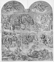 Trumpeting Angels and Damned Souls Being Pulled Down by Devils (lower center and right sec..., 1548. Creator: Niccolo della Casa.
