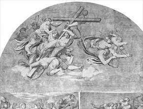 Angels Carrying the Cross with Saints below (upper left section of the Last Judgment), 1548., 1548. Creator: Niccolo della Casa.