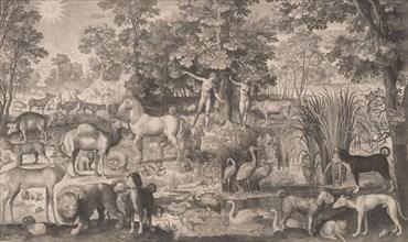 Adam and Eve in Paradise, 1631., 1631. Creator: Nicolaes de Bruyn.
