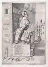 Speculum Romanae Magnificentiae: Statue of Pasquin in the House of Cardinal Ursino..., 16th century. Creator: Nicolas Beatrizet.