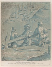 The invention of the cross; three men lifting a cross from a trench; from 'Recueil ..., ca. 1729-64. Creator: Nicolas Le Sueur.
