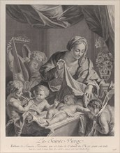 The Virgin holding a cloth above the sleeping Christ child, with musical angels and th..., ca. 1729. Creator: Nicolas Pigne.