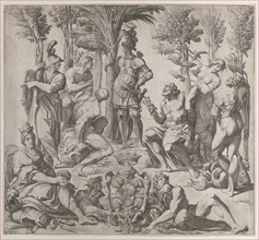 Allegorical composition with six Olympian gods gathered around a figure in armor, 1615-35., 1615-35. Creator: Oliviero Gatti.