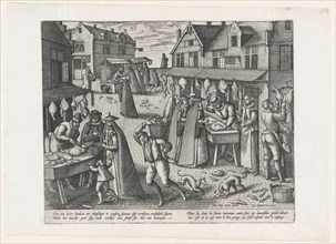 Meat Market, from the pair Meat Market and Vegetable Market, ca. 1575-1608., ca. 1575-1608. Creator: Peeter van der Borcht.