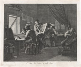 The Printmaking Workshop, 1750-1800., 1750-1800. Creator: Pellegrino dal Colle.
