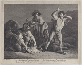 A group of people gambling, 1770-1800., 1770-1800. Creator: Pellegrino dal Colle.