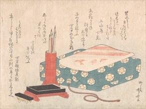 Writing Set and Poem Card Box (Shikishi-bako), from Spring Rain Surimono Album (Har..., ca. 1805-10. Creator: Shinsai.